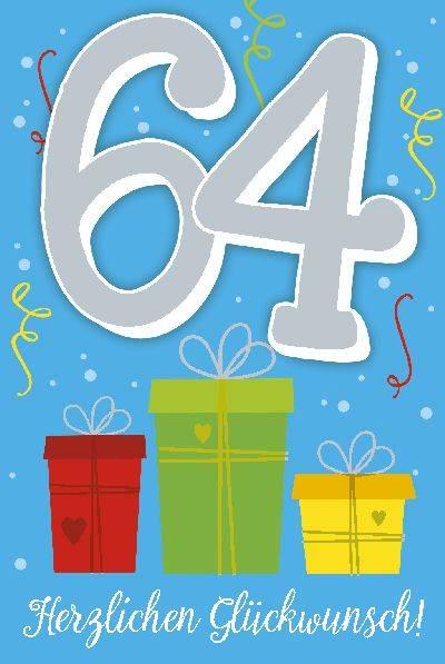 Glückwunschkarte zum 64. Geburstag