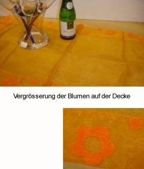 Organza Deckchen mit Orangenen Blumen
