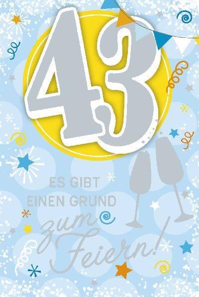 Glückwunschkarte zum 43. Geburstag