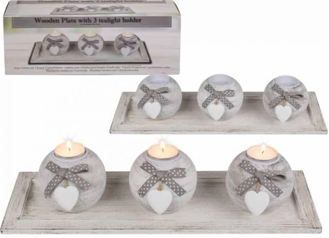 Holz Tablett als Teelichthalter