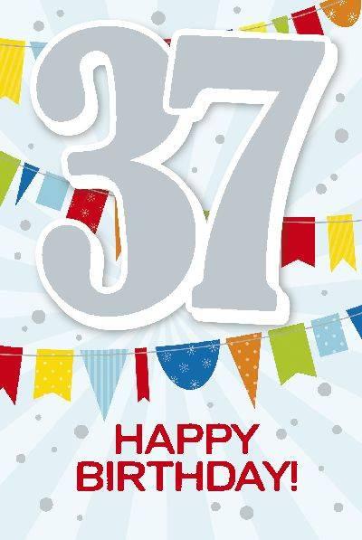 Glückwunschkarte zum 37. Geburstag