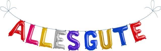 Folien Ballon Buchstaben Set ALLES GUTE