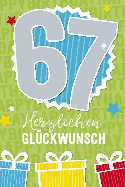 Glückwunschkarte zum 67. Geburstag