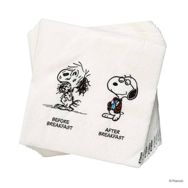 Snoopy Papierserviette Before / After
