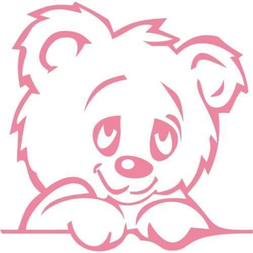 Wandtattoo Bär in Pink
