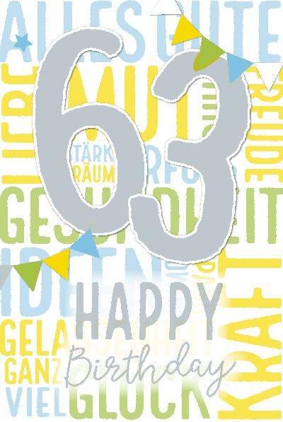 Glückwunschkarte zum 63. Geburstag
