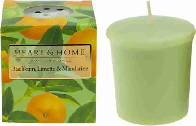 Heart and Home Votivkerze Basilikum, Limette, Mandarine