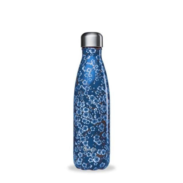 Qwetch Thermoflasche Flowers Blau