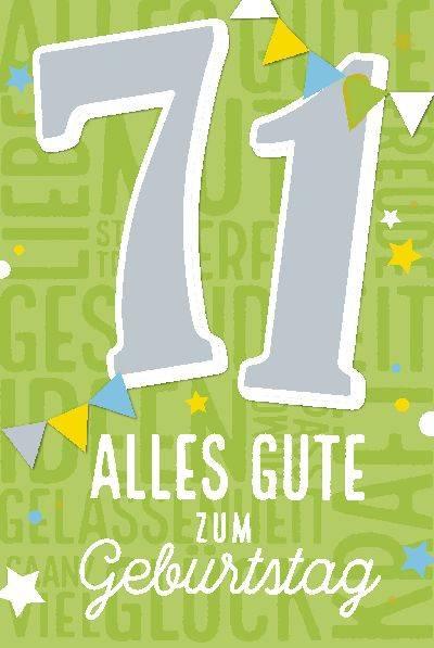 Glückwunschkarte zum 71. Geburstag