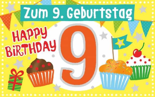 Geburtstagsteelicht 9. Geburtstag