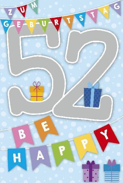 Glückwunschkarte zum 52. Geburstag