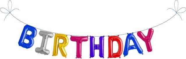 Folien Ballon Buchstaben Set BIRTHDAY