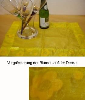 Organza Mitteldecke in Gelb mit Blumen