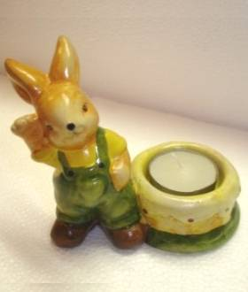 Teelichthalter Osterhase in Grün
