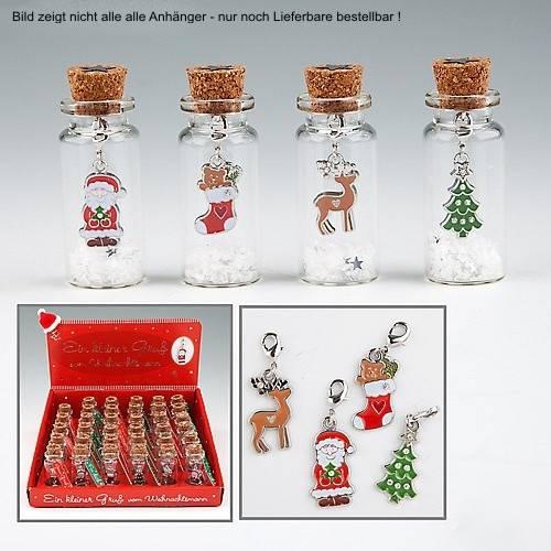 Weihnachtsanhänger in Glasflasche